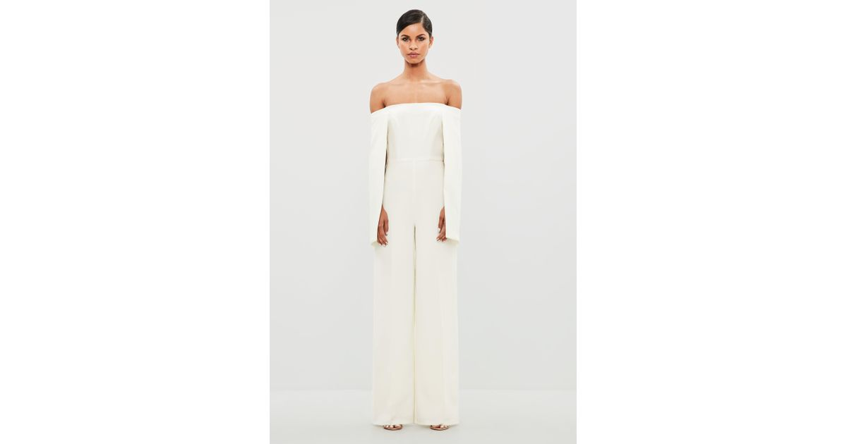 01d5a790d773 Missguided Peace + Love White Bardot Flared Sleeve Jumpsuit in White - Lyst
