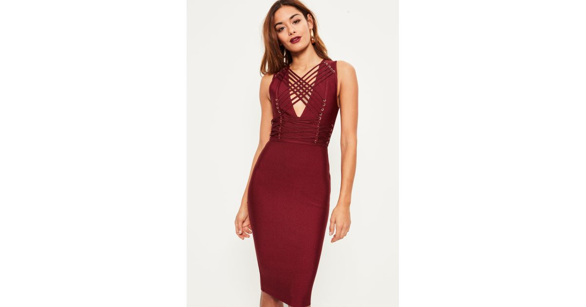 77b6df9770d84 Lyst - Missguided Burgundy Bandage Sleeveless Strappy Midi Dress in Red