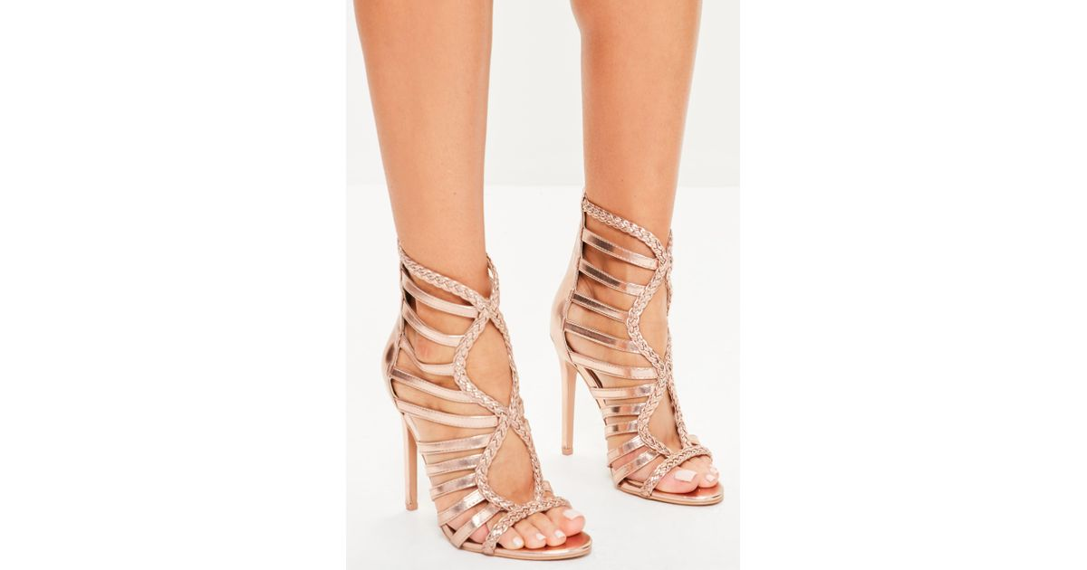 e687be17ed4 Lyst - Missguided Rose Gold Plaited Multi Strap Gladiator Heels