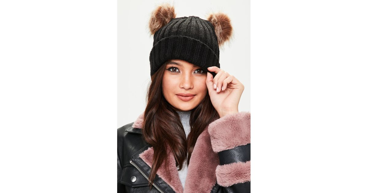 5342ff4048b Missguided Black Beanie With Double Pom Poms in Black - Lyst