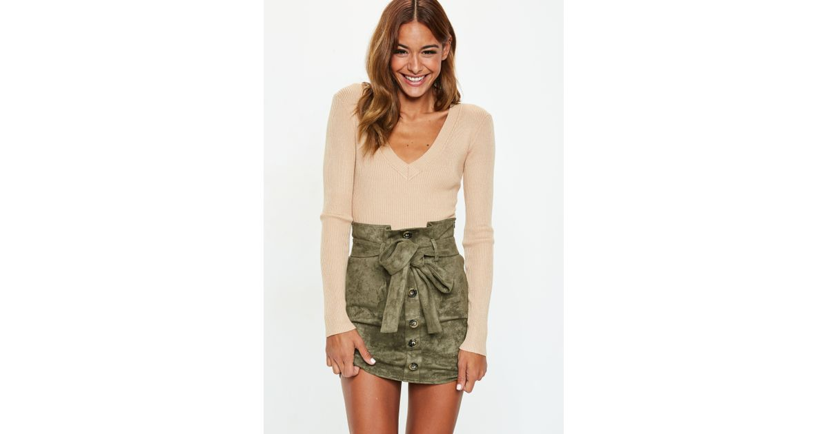 acf719b122 Missguided Khaki Faux Suede Paperbag Waist Mini Skirt in Natural - Lyst