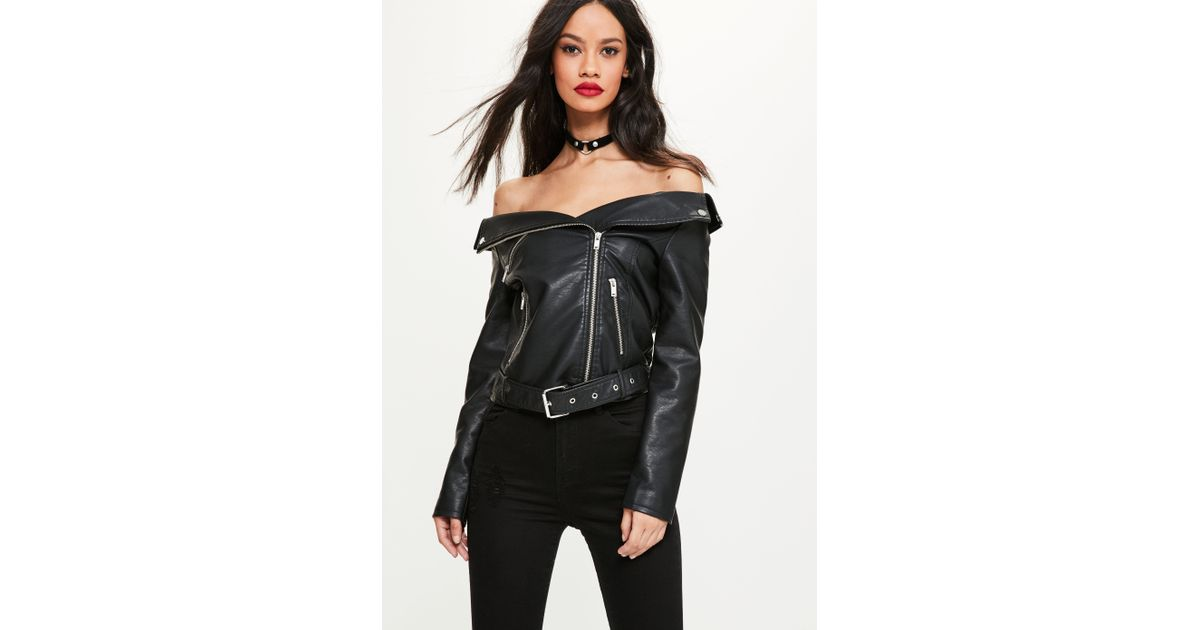 new images of price remains stable 50% price Missguided Black Faux Leather Off Shoulder Jacket