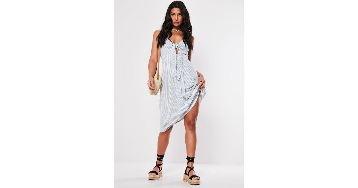 2ccff04f Lyst - Missguided Tall White Tie Front Button Down Midi Dress in White