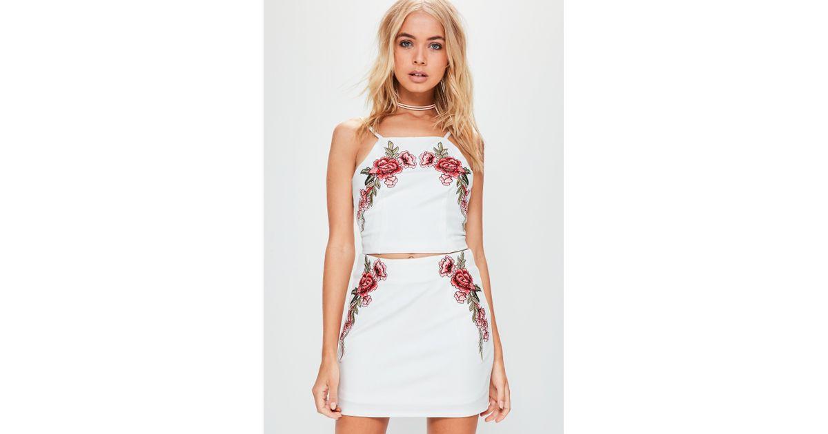 Lyst missguided white applique rose mini skirt in white