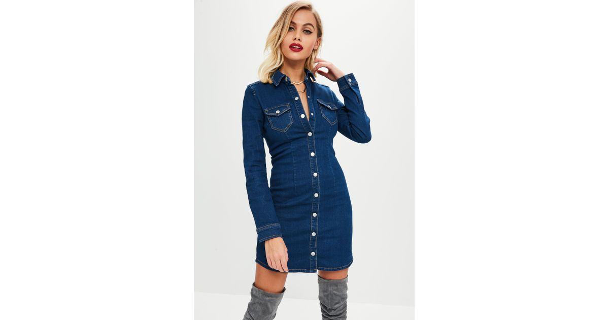 ef3837519e Missguided Blue Dark Wash Button Through Fitted Denim Dress in Blue - Save  31% - Lyst