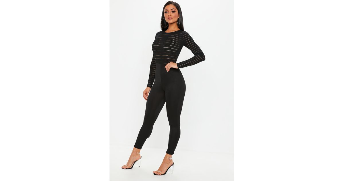 ba52fa348b163d Lyst - Missguided Black Burn Out Mesh Jumpsuit in Black