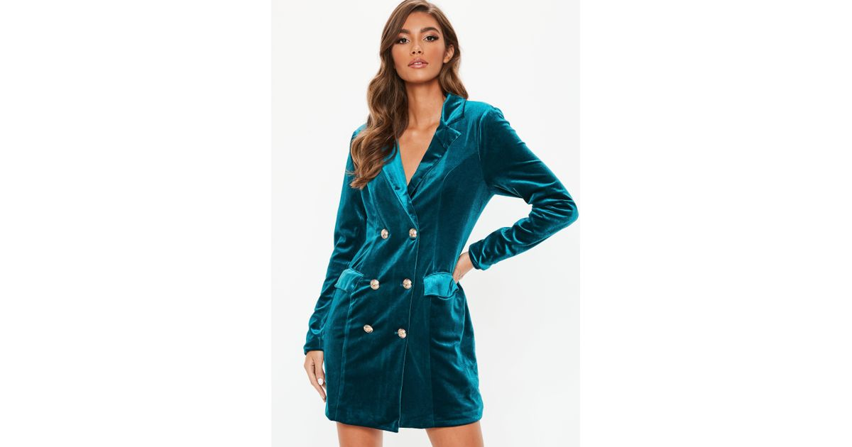 77c870c3ce91 Missguided Teal Velvet Double Breasted Blazer Dress in Blue - Lyst