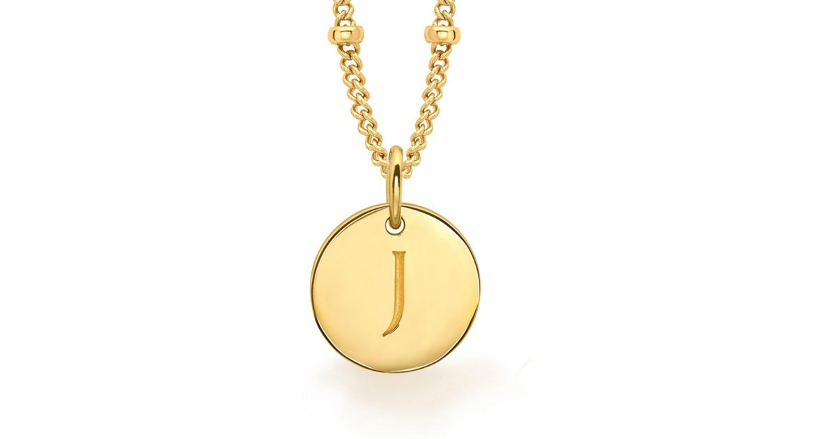 Lyst missoma gold j initial necklace in metallic aloadofball Image collections