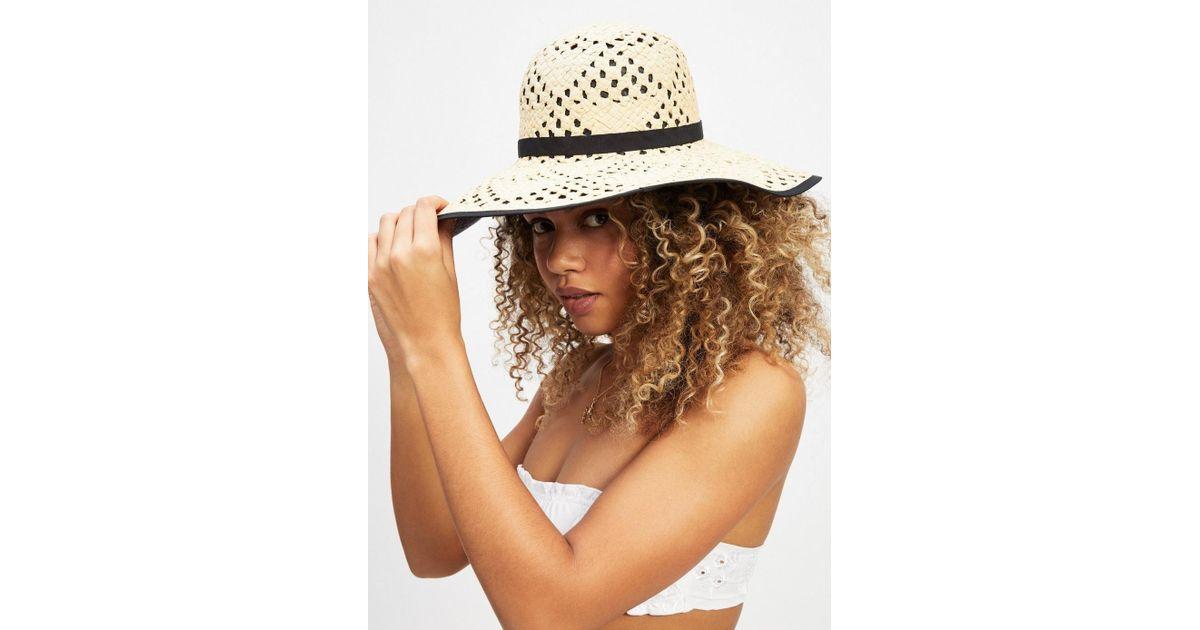 8225e62395b0f Lyst - Miss Selfridge Black Contrast Underlay Straw Hat in Black