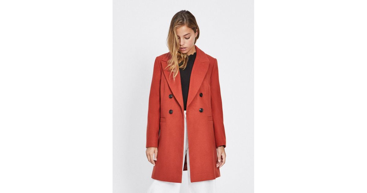 69634dc9620 Lyst - Miss Selfridge Petite Rust Smart Double Breasted Coat in Red