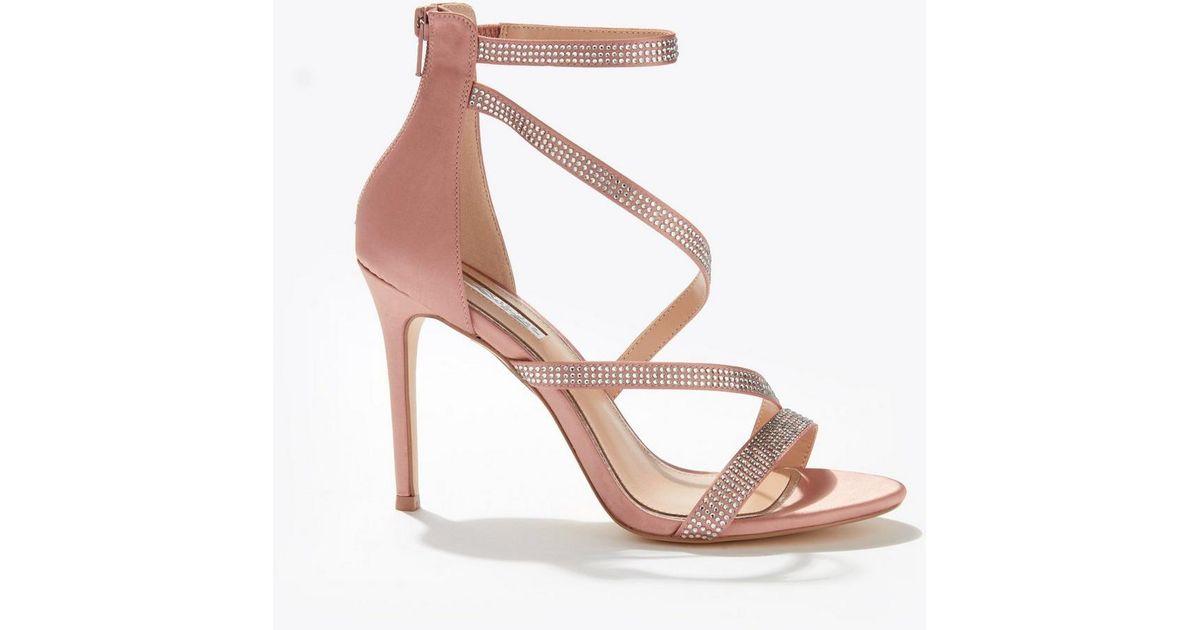 fd754fc01831 Lyst - Miss Selfridge Nude Hadleigh Diamond Stiletto Heeled Sandals in  Natural