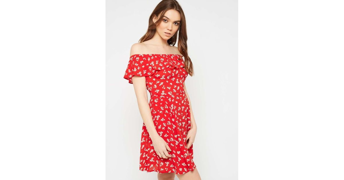 6ebb27d2b13e6 Red Floral Bardot Skater Dress  Dresses what kate wore. Missguided ...