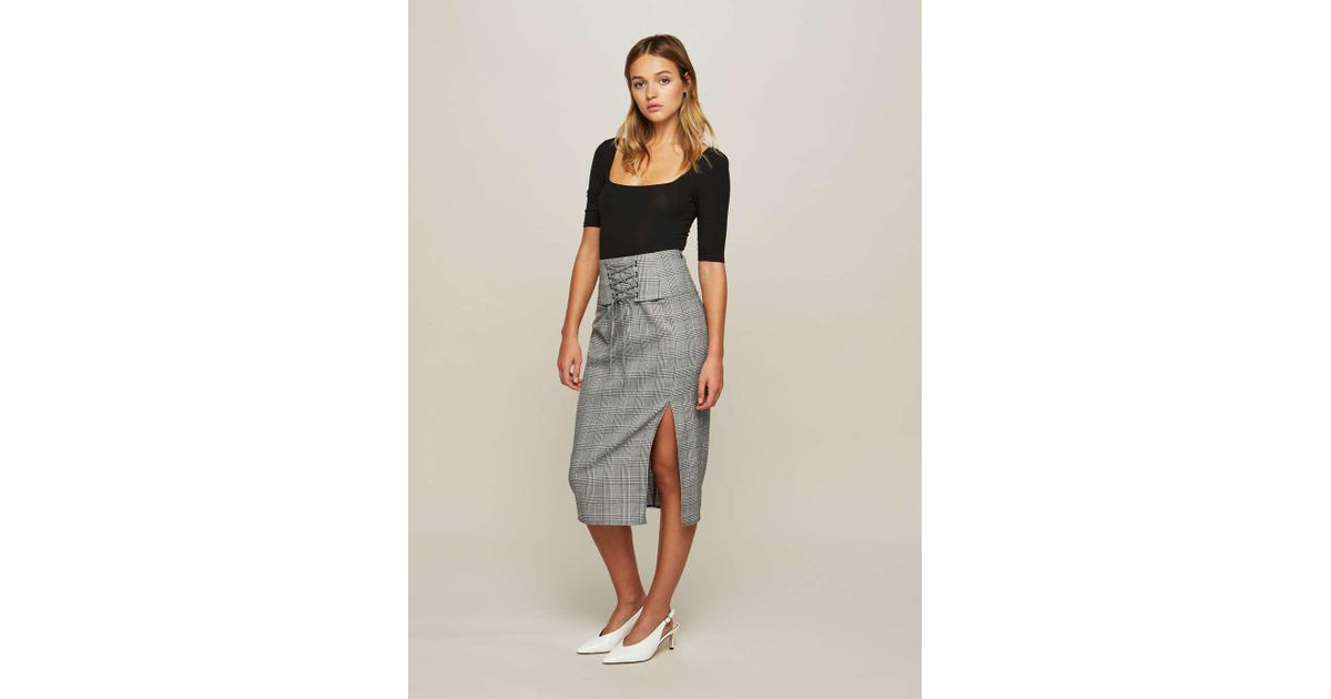 61b851353 Miss Selfridge Checked Corset Pencil Skirt in Gray - Lyst