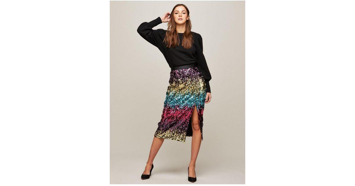 Miss Selfridge Premium Ombre Sequin Skirt - Lyst 5786cfb18