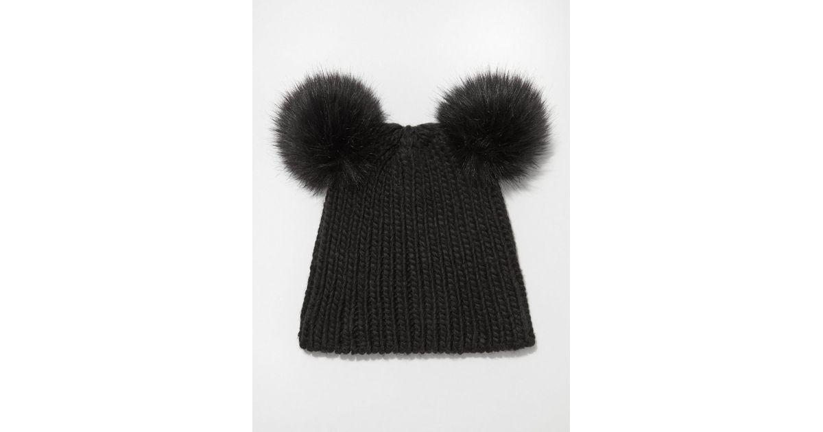 4cc257ba Lyst - Miss Selfridge Black Double Faux Fur Pom Hat in Black