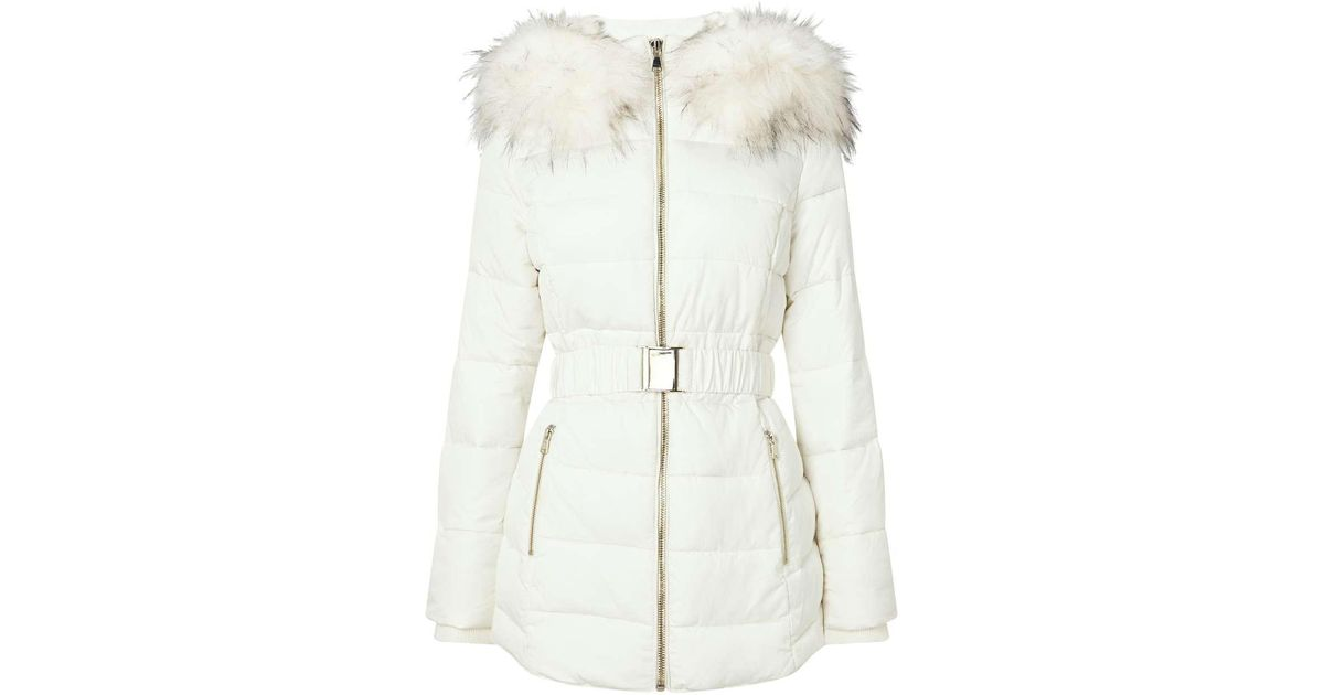 f1a647d68 Lyst - Miss Selfridge White Longline Belted Puffer Jacket in White