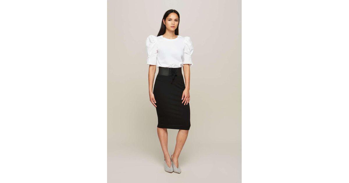 c65243fff Miss Selfridge Black Corset Pencil Skirt in Black - Lyst