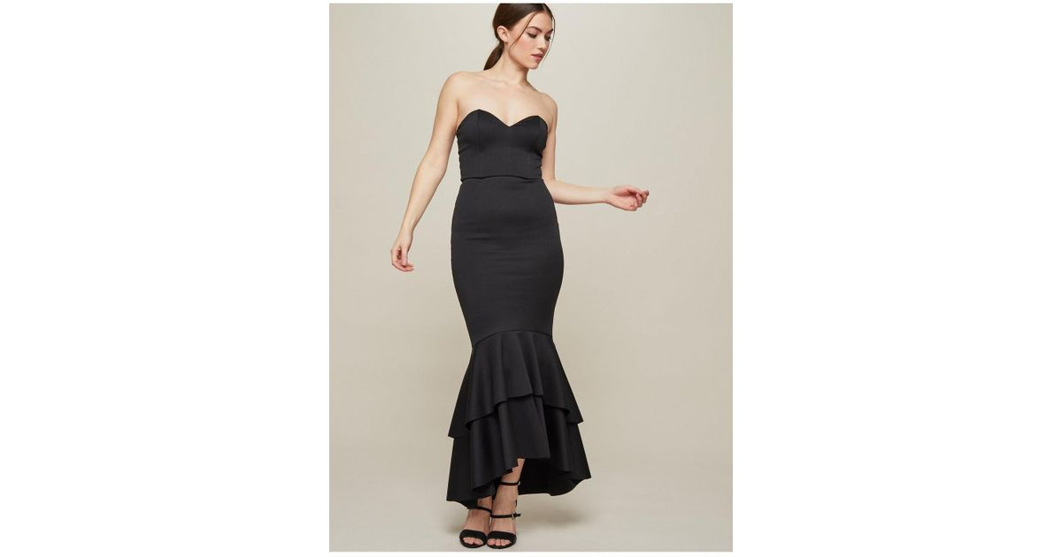 Lyst Miss Selfridge Fishtail Prom Bodycon Dress In Black