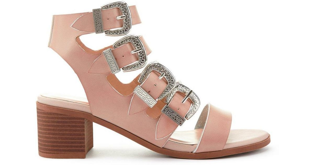 0fc96c6b3baa Miss Selfridge Multi Buckle Heeled Sandals - Lyst