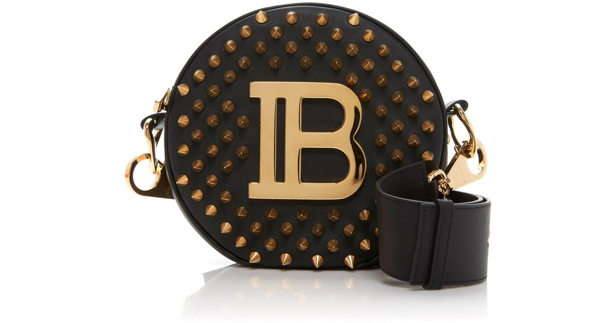 884aa35019a Lyst - Balmain Disco Medium All Over Spikes Leather Bag in Black