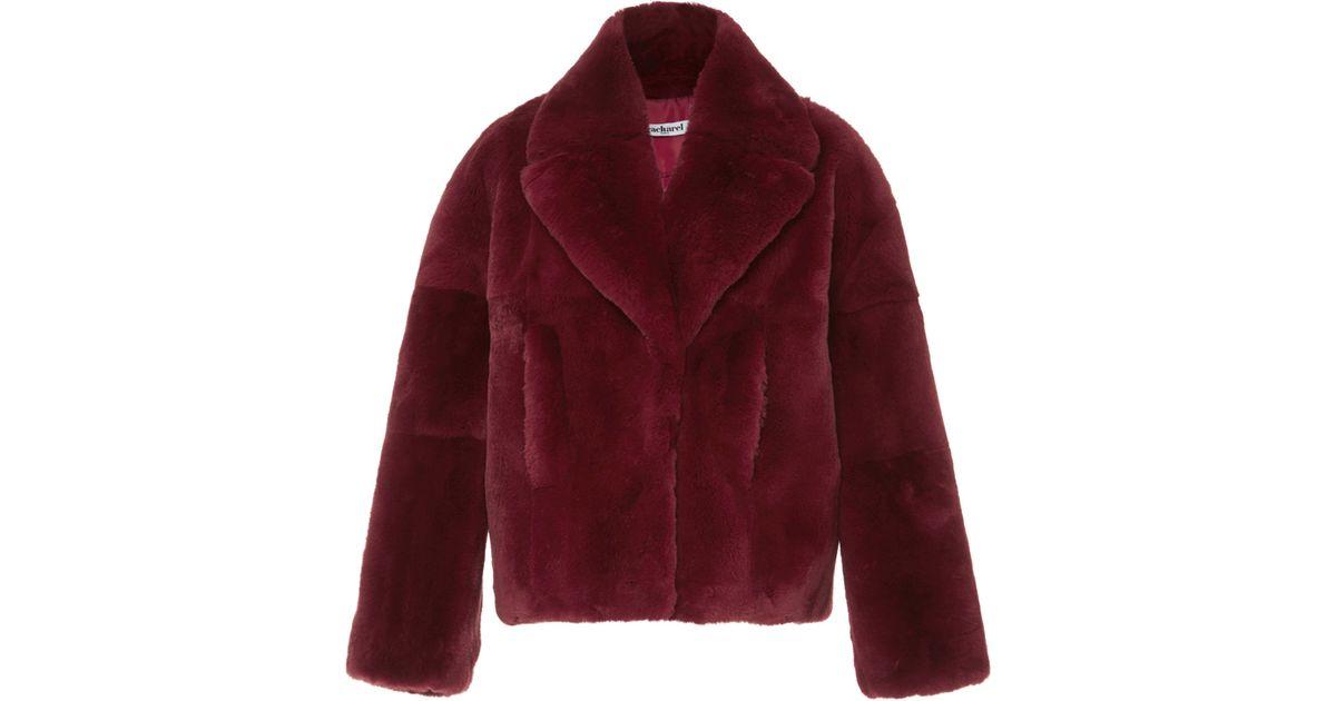 e2b004e592 Cacharel Fur Coat in Red - Lyst
