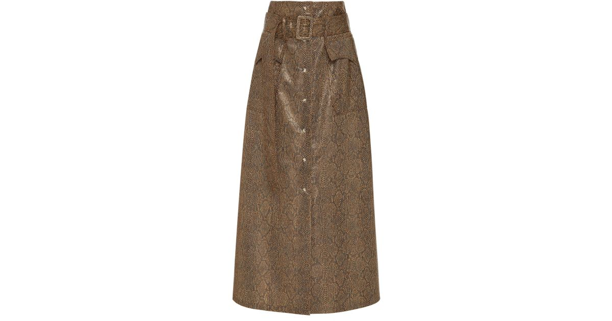 c2ba82e616 Lyst - Nanushka Aarohi Belted A-line Vinyl Midi Skirt