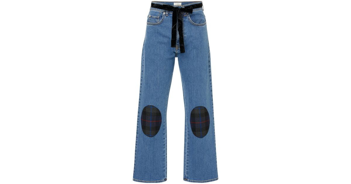 3996e5fe7 Isa Arfen Belted Patchwork-effect Mid-rise Straight-leg Jeans in Blue - Lyst