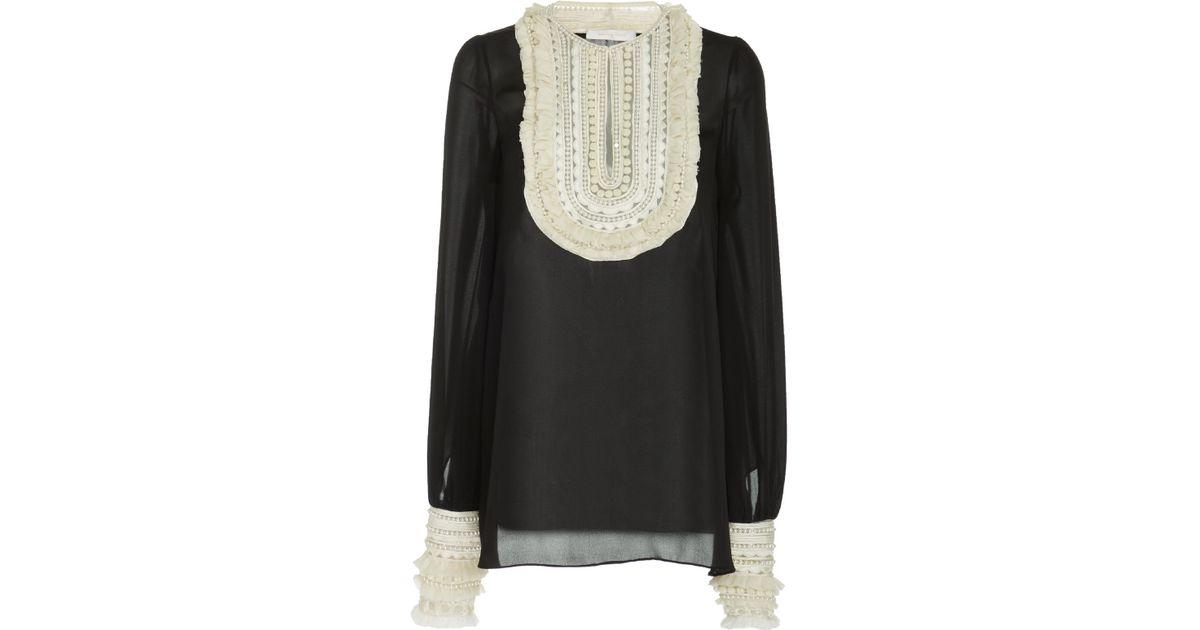 02149b03bc6bff Naeem Khan Embellished Ruffle-trimmed Silk Chiffon Blouse in Black - Lyst