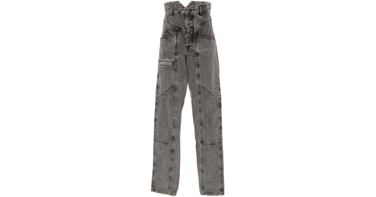 db1d4445493 Lyst - Isabel Marant Roger High-rise Straight-leg Jeans in Gray