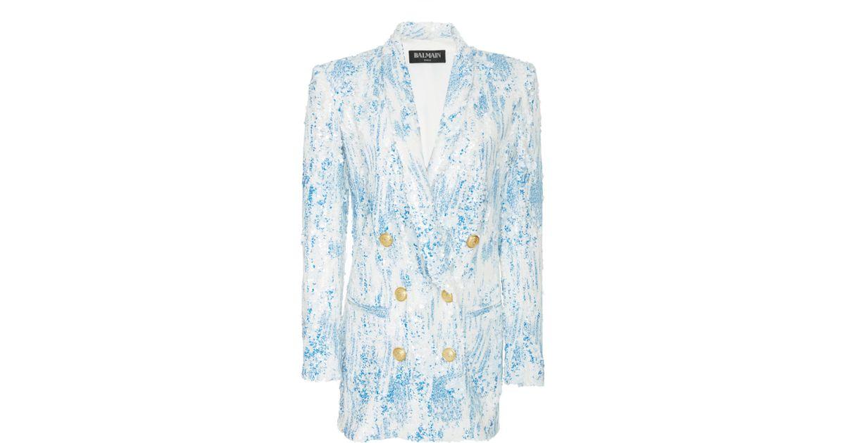 1306e53d Balmain Degrade Sequin Jacket Dress in White - Lyst