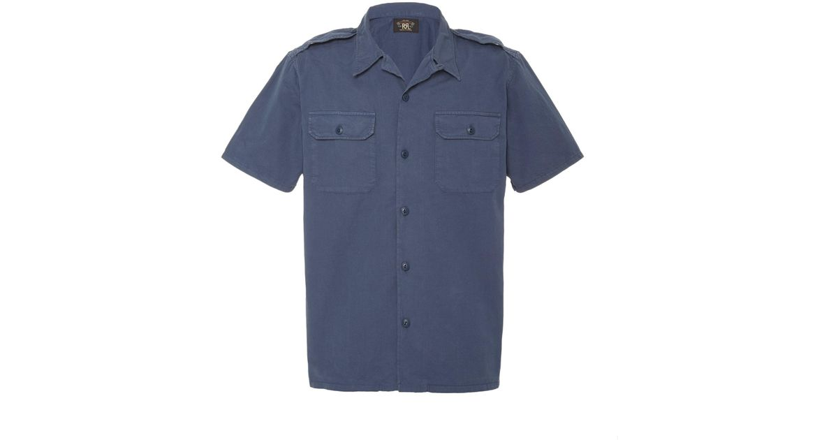 6fc35982 Lyst - RRL Shaw Cotton Camp Shirt in Blue for Men