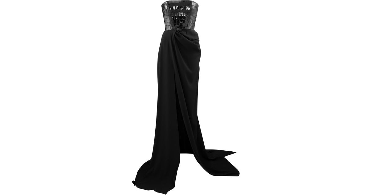 59876e18 Alex Perry Atticus Sequined Croc-effect Strapless Crepe Gown in Black - Lyst