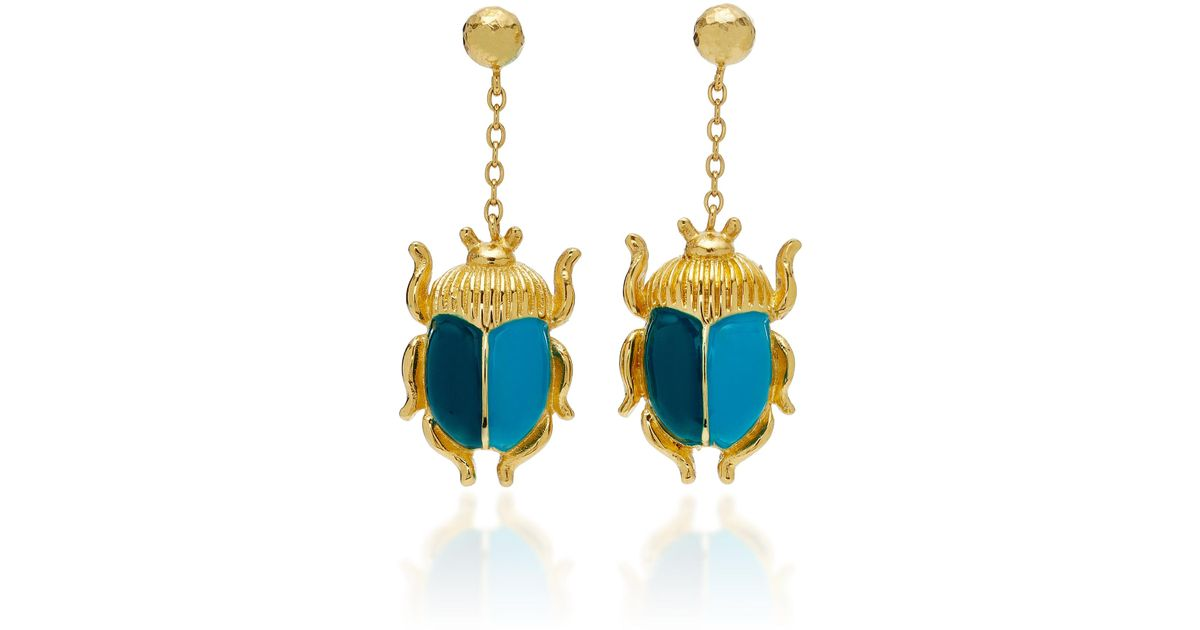 New Styles Elvira Scarab Earrings in Red and Pink Enamel and 18K Gold-Plated Brass Aurélie Bidermann Shopping Online Original Buy Cheap Professional Real Marketable For Sale XHqhkAMsCL