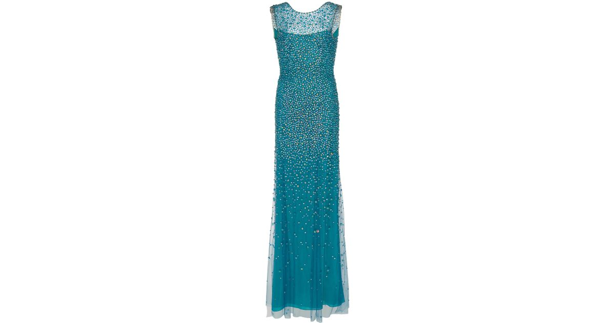 Lyst - Jenny Packham Assana Beaded Illusion Gown in Blue