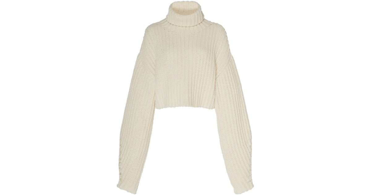 905f3d9c540 Sally Lapointe - Multicolor Silk Cashmere Cord Cropped High Neck Sweater -  Lyst