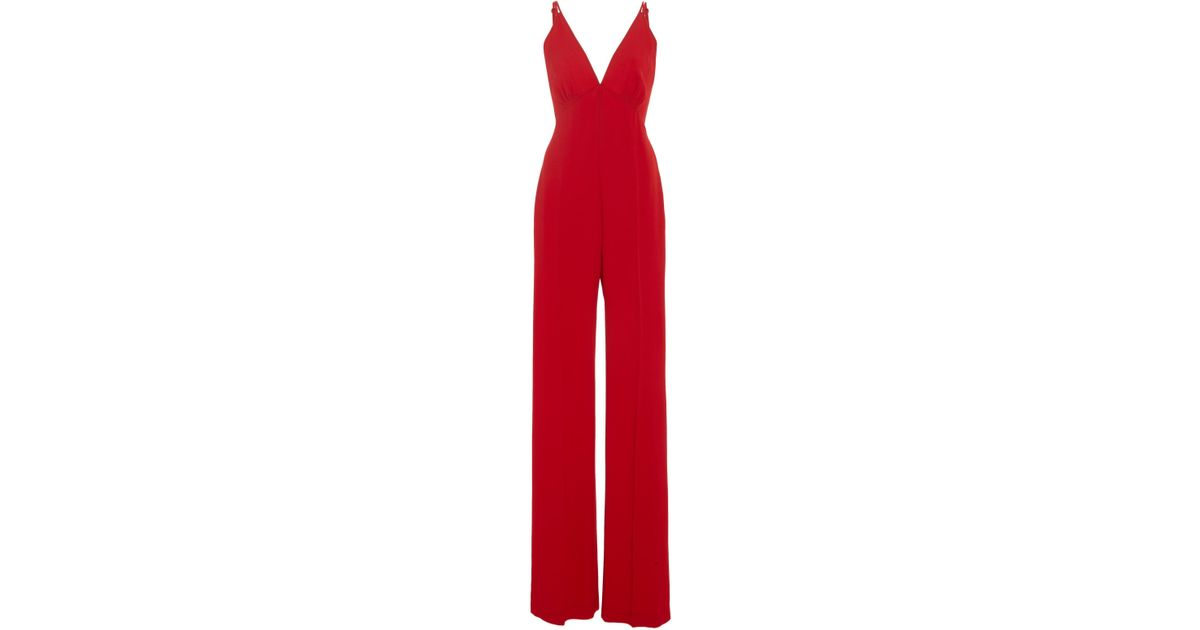 df5393d3710 Lyst - Jenny Packham Carnelian Plunge Jumpsuit in Red