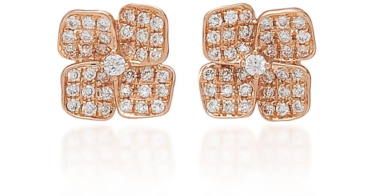 f718838cb Anita Ko Floral 18k Gold And Diamond Stud Earrings in Pink - Lyst