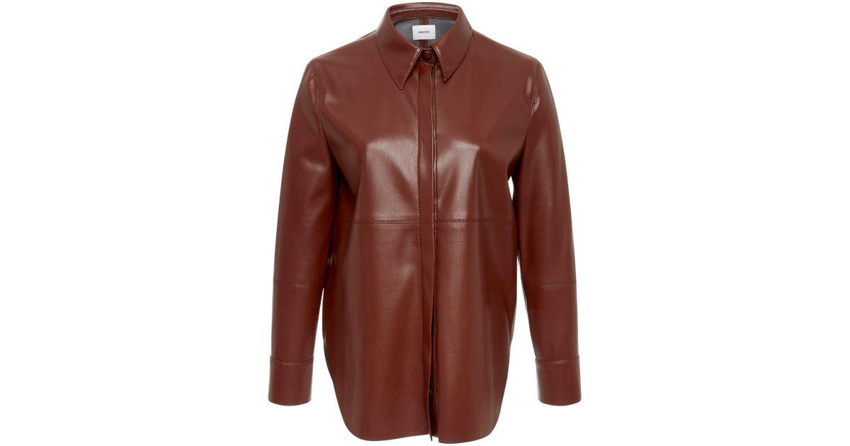 9c222142d3bbeb Nanushka Naum Vegan Leather Blouse in Brown - Lyst