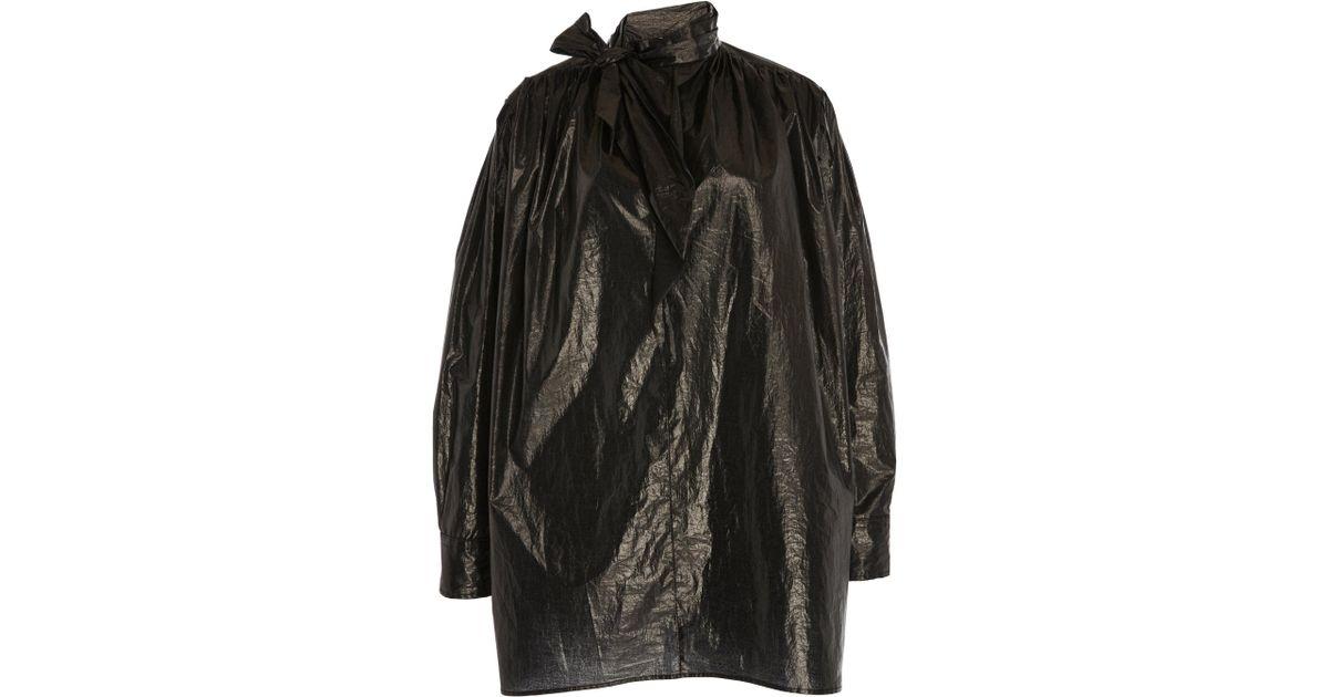 fec7b6a057c Lyst - Isabel Marant Tad Mockneck Coated Cotton Dress in Black