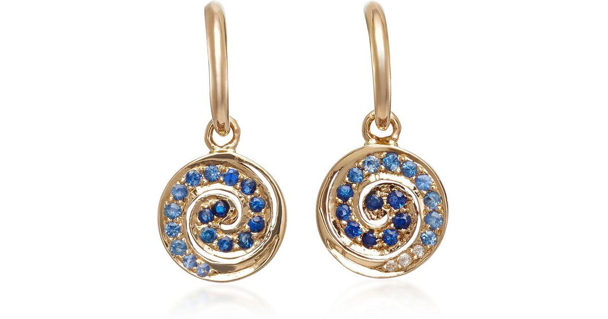 14K Gold Sapphire Spiral Hoop Earrings She Bee sGpMUF6Vg