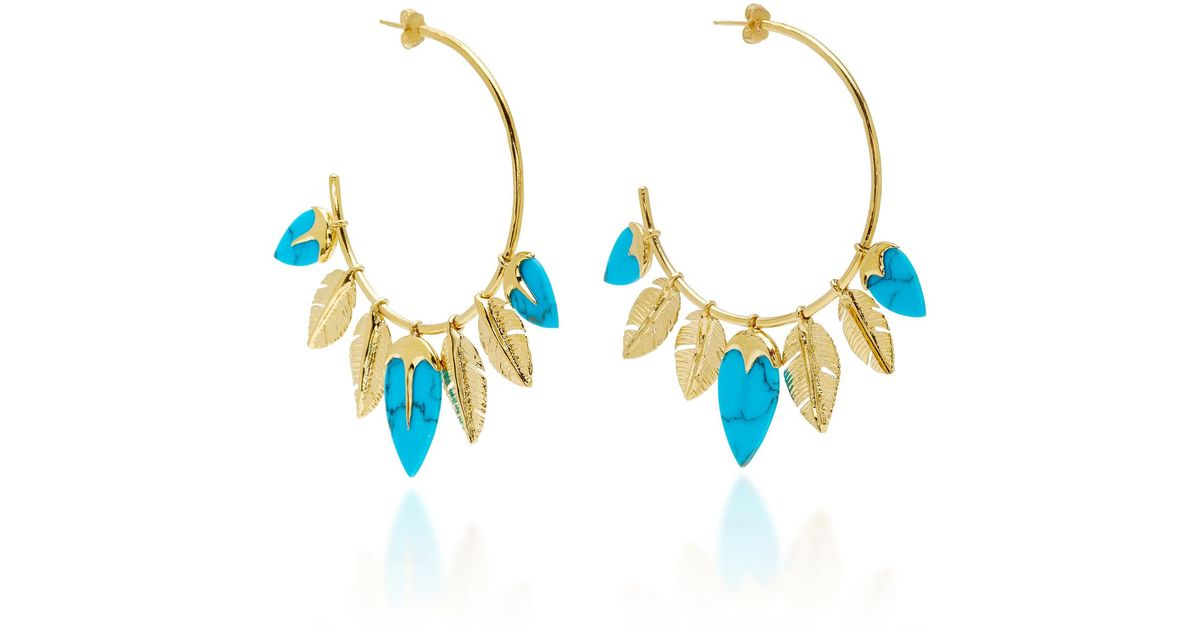 Thalitha Hoop Earrings in Turquoise and 18K Gold-Plated Brass Aur NeJJG