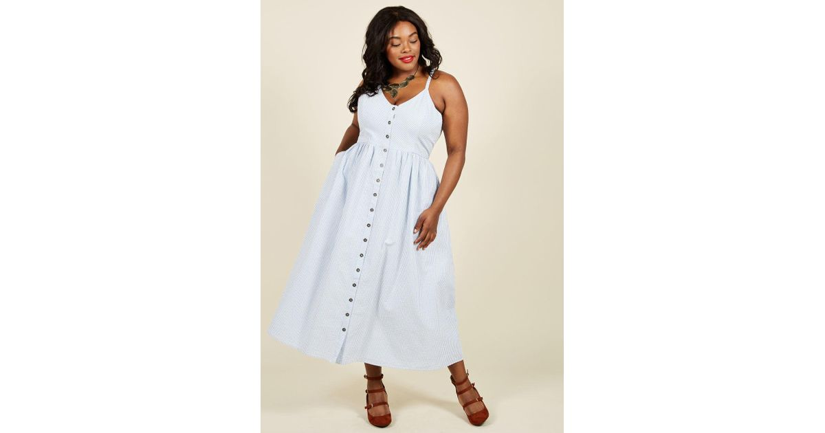 Modcloth Quite Clearly Charismatic Maxi Dress in Blue