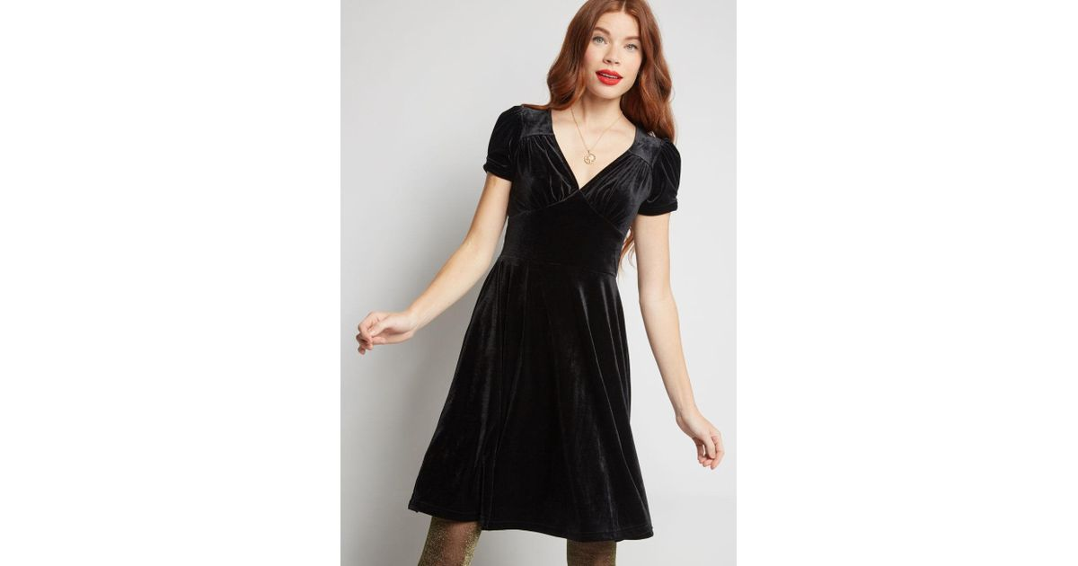 2399765e08 Lyst - Hell Bunny Retro Recollection Velvet Dress in Black