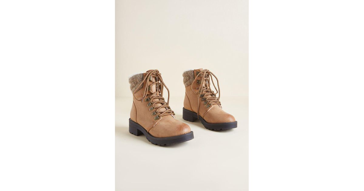 b0156e77bf1d Lyst - ModCloth Head Held Hike Lace-up Boot in Brown