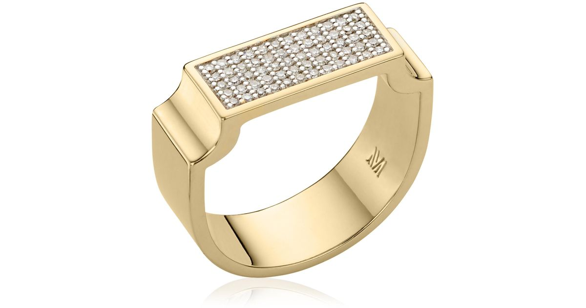 Rose Gold Signature Wide Diamond Ring Diamond Monica Vinader kExE7