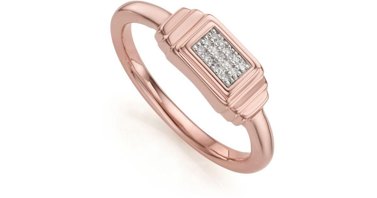 Rose Gold Baja Deco Diamond Ring Diamond Monica Vinader lhVGpe
