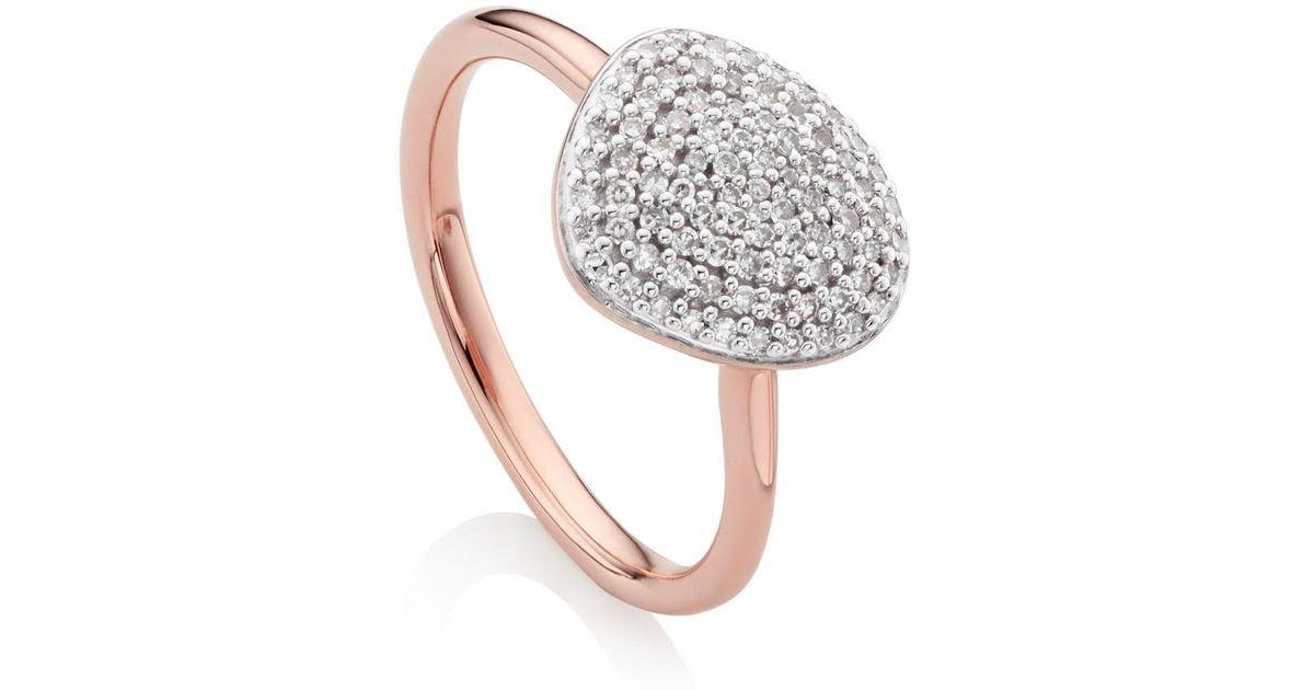Sterling Silver Signature Diamond Ring Diamond Monica Vinader OTU76Pcgs