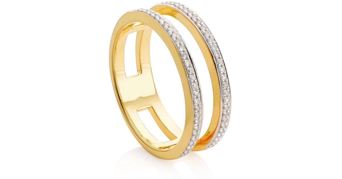 Oro Rosa Delgado Anillo De Banda Doble Diamante Negro Monica Vinader 36HUC2lft