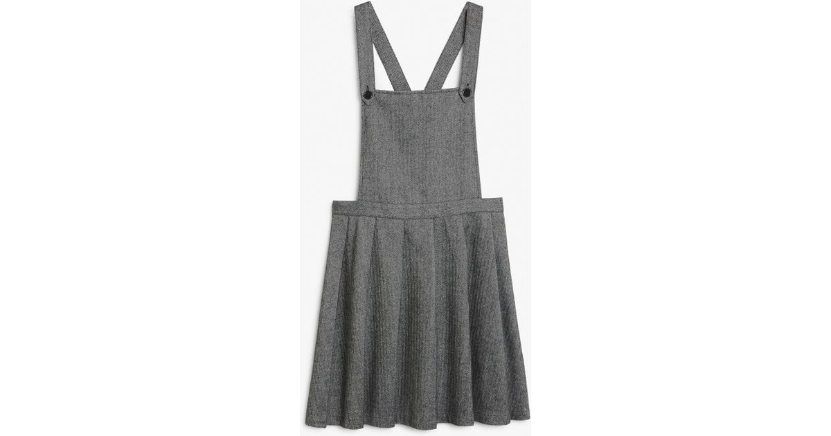 307743f5a Monki Pleated Dungaree Dress in Gray - Lyst