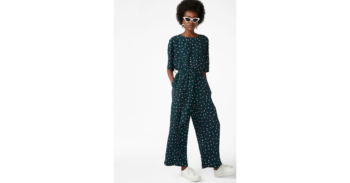 33e6619bcaa Monki Belted Jumpsuit in Green - Lyst